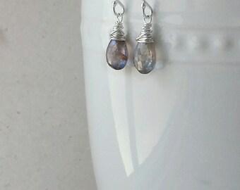 Sapphire Earrings, Sterling Silver Sapphire Earrings, Sapphire Jewelry