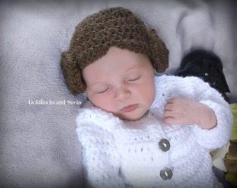 Princess Leia hat, Princess Leia wig, girl Star Wars hat, comic con costume, baby girl Leia, Leia bun wig, crochet Princess Leia