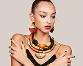 Tribal earrings, Leather earrings, african earrings, african jewelry, boho earrings, boho disc earrings, Gift for her