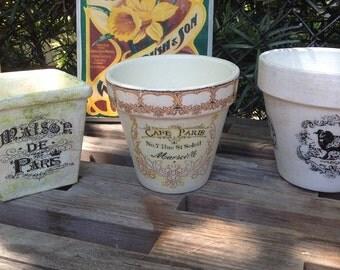 French Vintage Advertising Label Flower Pot/ Rustic French Country Shabby Chic Farmhouse Decor Garden Cache Pot Ephemera Label Planter Gift