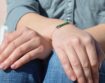 Emerald Green Aventurine Bracelet, Danity Stacking Bracelet, 14k Gold Fill, Sterling Silver, Rose Gold, Bar Bracelet, Gold Bracelet