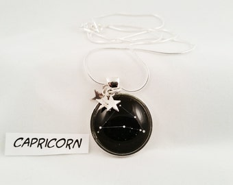 Constellation Star Zodiac Glass Dome Pendant with Tiny Star Charms and Sterling Silver Chain