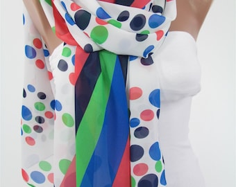 Polka Dots Scarf Women Fashion Scarf Cobalt Green White Scarf Spring Summer Fall Fashion Accessory Christmas Gift For Her For Women For Mom