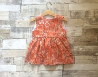 Orange Patterned Sleeveless Dress   Floral Print Dress   Abstract Floral Pattern Dress   Baby Girls Orange Dress   Baby Floral Dress