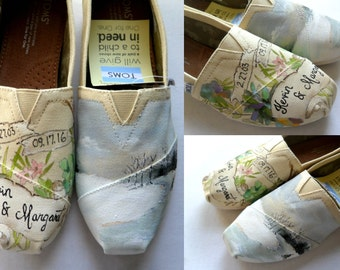 Bride's Love Story Wedding Shoes, Unique Hand Painted TOMS, Custom TOMS, Wedding Flats, Painted Wedding Shoes, Gift for the Bride