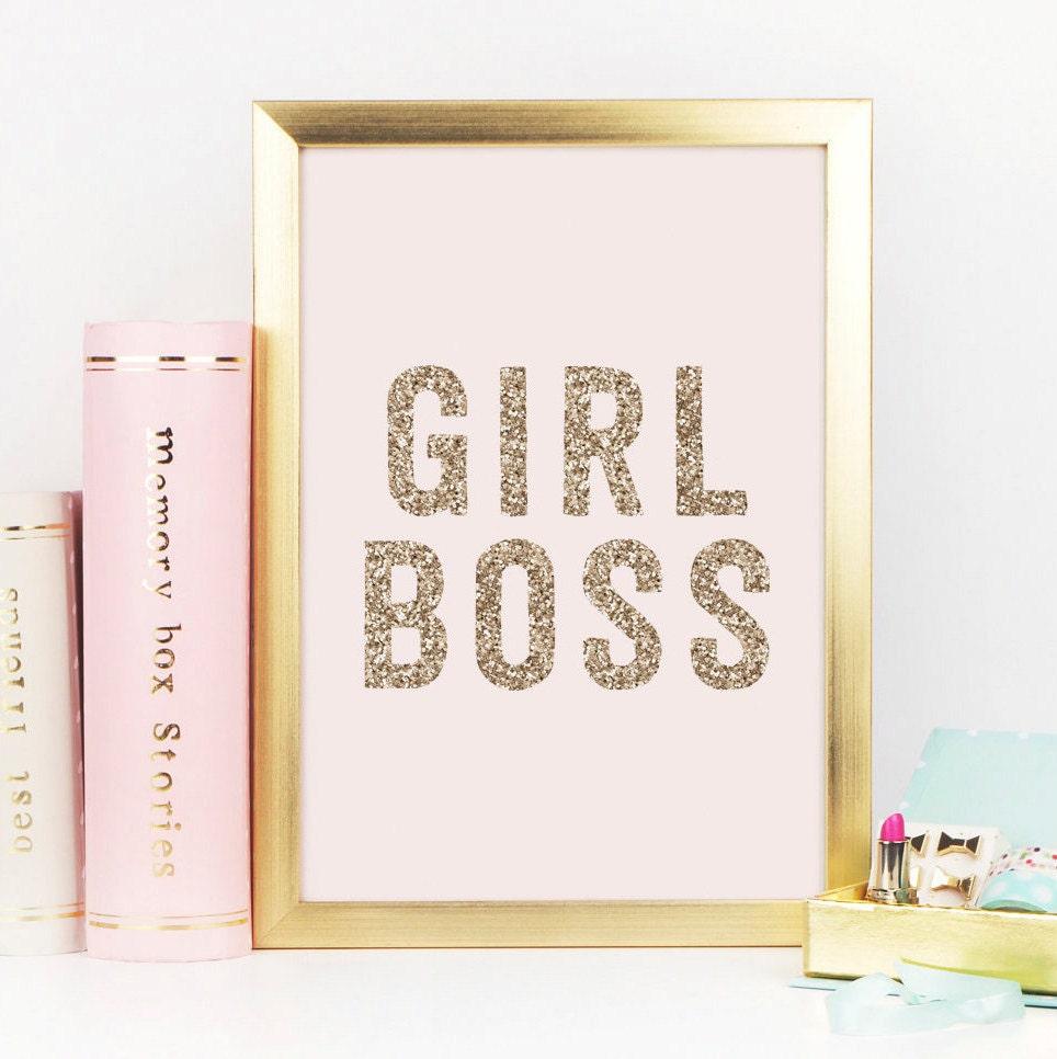Inspirational Desk Accessories girl boss gold decor gold glitter girl boss print boss