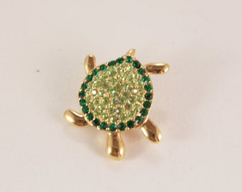 Monet Green Rhinestone Turtle Brooch Pin Signed Vintage Jewelry