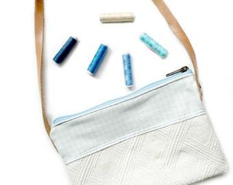 Ecru and blue shoulder bag. Fabric Messenger bag. Baby blue crossboy bag