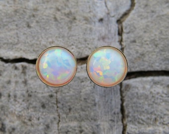 Classic Opal Studs, 5mm 14k Gold Filled Studs, white Opal stud earrings, Gold earrings, Statement earrings, October Birthstone opal jewelry