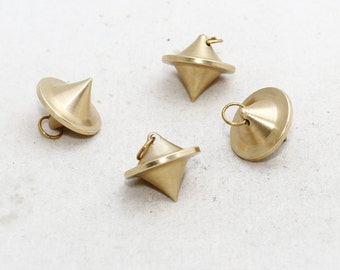 5 Pcs Pcs 20mm Brass Pendulum Charms, heavy, solid brass pendulum , geometric, Spike, PND7