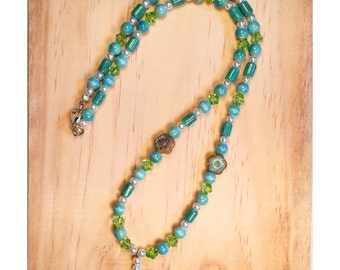 Light green butterfly pendant beaded necklace