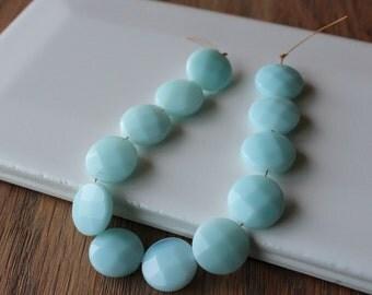 Amazonite Beads. 12mm Faceted Coin. 12 Beads. Natural Aqua Amazonite Gemstone