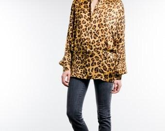 Vintage ESCADA 100% SILK Leopard Print Long Shirt / Blouse
