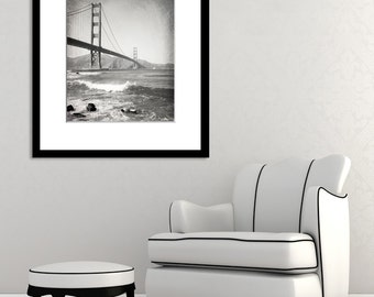 San Francisco Photography, Black and White, Golden Gate Bridge, California, Landscape Photo, Fine Art Print, Vertical, Wall Art, Home Decor