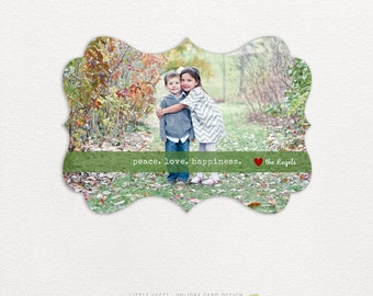 Personalized holiday cards- photo christmas cards- ornate die-cut- peace. love. happiness