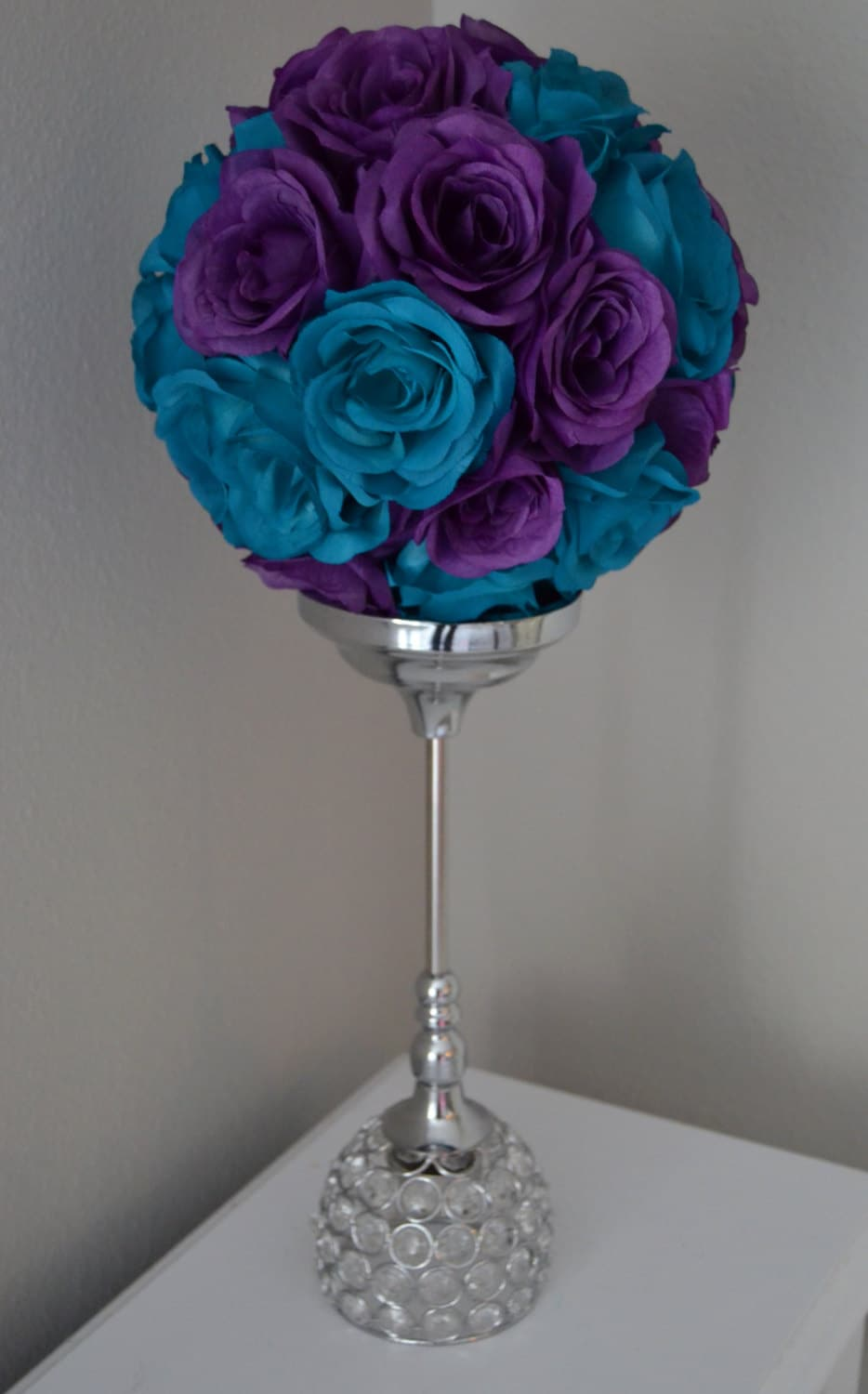 Teal and purple flower ball mix wedding centerpiece