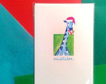 Funny Christmas Card: Cute Mistletoe Giraffe. Xmas Love. Blank Notecard.