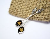black yellow jewelry dangle drop earrings sister gifts mini maple terrarium jewelry cute maple leaf royal spoon earrings bijoux jaune сп12