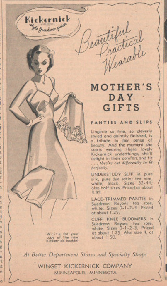 Original 1941 Kickernick Ad, Matted Ad for Mother's Day, underwear ad, Vintage paper Ad for unusual gift, panties, slip ad, quirky gift