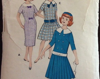 Butterick 8651 - 1950s Girls Chemise Dress Straight or Dropped Waist with Pleated Skirt Option - Size 7