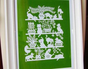 Art Print, Papercut, Paper Cutting, Papercut Art, Art Print, Whimsical Art, Cat Art, Cats On Shelves, Green Art, Wall Hanging, Wall Art