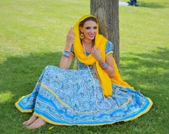 Princess Anarkali Dress Set, Jayapuri Cotton,Blue & Yellow