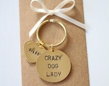 Crazy Dog Lady Hand stamped Keyring, personalised with dogs name