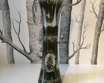 Vintage Egermann Czech Republic Green Etched Glass Vase