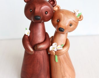 Wedding Cake Topper - Bear clay cake topper and keepsake for original woodland animal, rustic and chic wedding theme
