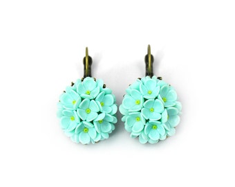 Polymer clay Jewelry Floral Earrings Polymer clay Earrings  Mint earrings Clay Flowers Fashion jewelry Clay applique Floral Jewelry Gift
