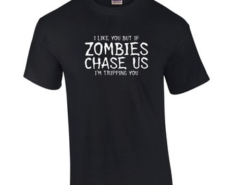 Zombies Chase us.Funny Zombie Shirt. The Walking Dead Shirt. Zombie fan shirt. Zombie fan gift. Funny Zombie fan shirt. Rick Grimes shirt~