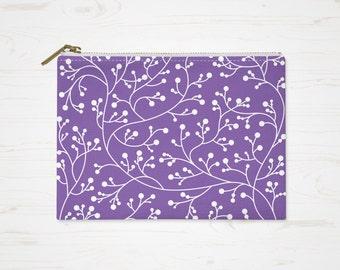 Lavender Makeup Bag, Floral Purple Purse, Vines Cosmetic Bag, Pattern Pouch, Small Accessory Bag, Large Toiletry Bag, Floral Pencil Case