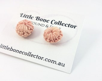 Pink Peach crochet button earrings, Surgical steel studs - Glue free