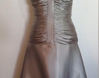 Silver dress, Jessica McClintock dress, halter dress, formal silver dress, formal halter dress, ruched dress, pewter dress, formal dress