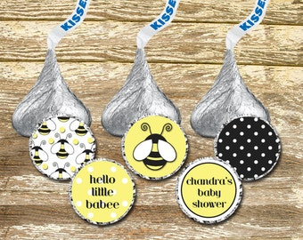Hershey Kisses Stickers - Bees Baby Shower, Bee Birthday Girl, Yellow and Black Baby, Personalized Hershey, Hershey Kisses Birthday