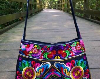 Bohemian Crossbody Bag - Boho Embroidery Bag - Hmong Ethnic Bag   ( FREE SHIPPING WORLDWIDE )