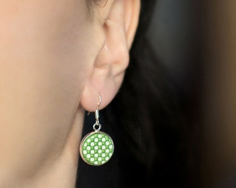 Green earrings Urban jewelry Circle earrings Dots jewelry Modern earrings Green dangles Small earrings Dangle green Women gift for Birthday
