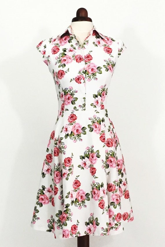 Items similar to floral dress for women pink rose dress for 1950s wedding guest dresses