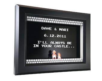 PERSONALIZED Custom Wedding / Anniversary Super Mario Bros. (NES) Shadow Box