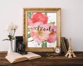 Watercolor floral prints, Love quote, Isn't she lovely, Nursery wall art, Kids room decor, Nursery pink decor, Nursery art print BD-572
