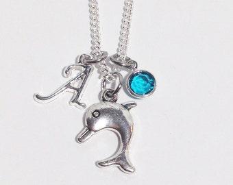 Dolphin Necklace, Dolphin Jewelry, Beach Girl Necklace, Personalized Birthstone Necklace, Dolphin Lover Gift, Summer Jewelry, Beach Jewelry