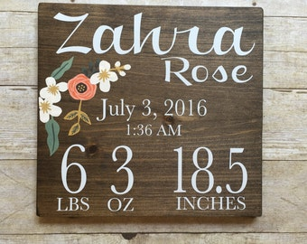 Personalized baby girl birth stats sign, customized newborn birth sign, floral baby birth sign, Customized new baby sign