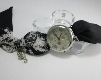 Womens Watch - Wrist Watch - Fabric Watch - Womens Fabric Watch - Seahorse Watch - Nautical Watch - Black Watch - Polka Dot Watch Bracelet