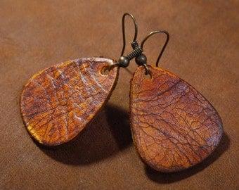 Leather Teardrop shaped  earrings in distressed veg tanned leather / lightweight earrings / boho / 3rd anniversary gift / joanna gaines