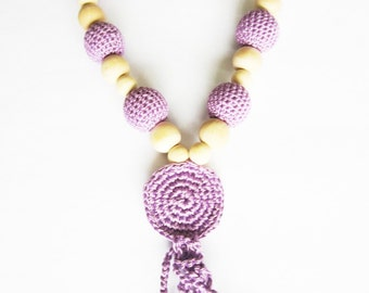 Crochet nursing necklaces for babies and moms, purple teething necklaces, breastfeeding, babywearing, chomping necklace, pregnancy gifts