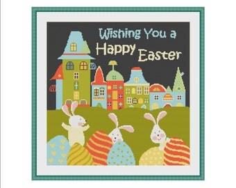 Easter cross stitch, Easter cross stitch pattern, Easter Bunny, Easter Rabbit, Easter Eggs, Easter pattern, Easter digital, Easter kids, PDF