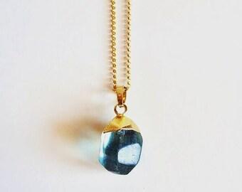 Long Boho Necklace // 14K gold vermeil chain // Long Gold Gemstone Necklace // Blue Quartz Pendant Necklace