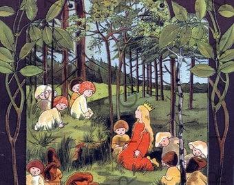 Beautiful Little Princess & Forest Sprites. Vintage Fairy Tale Illustration. Digital Fairy Download. Woodland Nursery Decor.