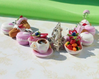 Charm Bracelet dessert polymer clay / Pastel miniatures sweet charms Macaroon Cake Cupcakes Strawberry cute charm Cup Coffee Eiffel Tower
