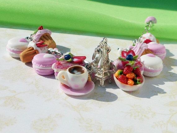 Charm Bracelet Dessert Polymer Clay Pastel Miniatures Sweet